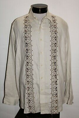 $14.47 • Buy LUCKY BRAND Mens XL X-Large 100%Linen Embroidered Button-up Shirt