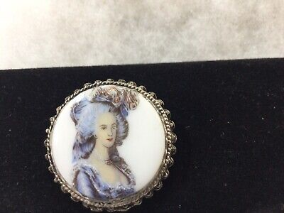 £15 • Buy Vintage Hand Painted Porcelain Portrait Of A Lady Brooch