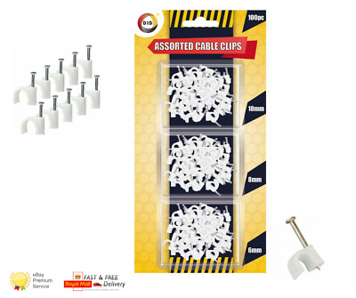 £2.29 • Buy 100 Pack White CABLE CLIPS 3 Assorted Sizes Wall Tacks Wire Cord Detangle Clamp