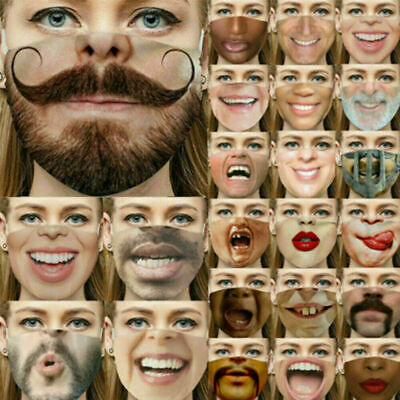 AU7.99 • Buy 3D Printed Funny Face Mask Breathable Washable Mouth Protection Reusable