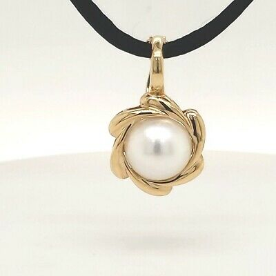 $399.99 • Buy Mabe' Pearl 11mm White Round 14k Yellow Gold Enhancer Pendant Black Cord 18  NEW