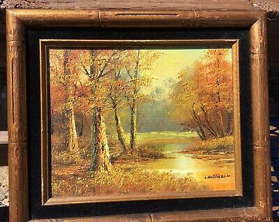 $ CDN72.57 • Buy Vintage Oil Painting Signed Cantrell Autumn Landscape Birch Trees Stream #032122