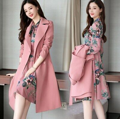 £58.98 • Buy Spring Autumn Ladies Dress Suits For Office Wear Long Trench Coat And Knee