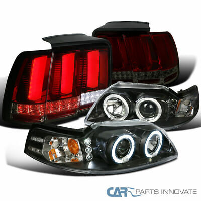 $300.11 • Buy For 99-04 Mustang Black Projector Headlights+Red/Smoke LED Sequential Tail Lamps