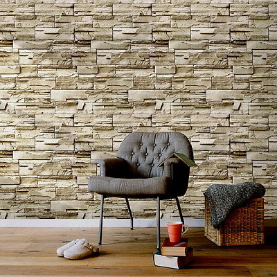 3D Wallpaper Stone PEEL & STICK Home Vinyl Décor Sticker For Bedroom Living Room • 7.02£