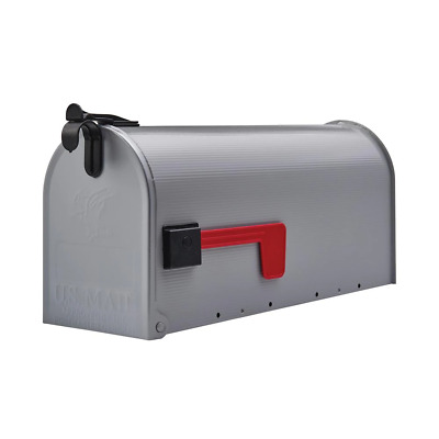 $15.05 • Buy Mail Box Red Flag Standard Size Post Mount Mailbox Grey Metal Ribbed Gray Steel