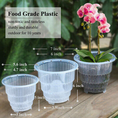 AU7.79 • Buy Mesh Pot Plastic Clear Orchid Flower Container Planter Breathable Home Gardening