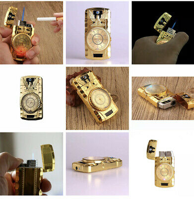 £10.99 • Buy New Windproof Lighter Turbo Single Jet Gas Refillable Cigar Cigarette Gold Clcok