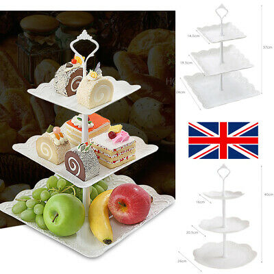 3 Tier Cake Stand Afternoon Tea Wedding Party Plates Tableware Embossed Tray • 7.09£