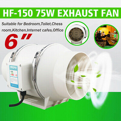 AU38.59 • Buy 6  Hydroponic Inline Exhaust Industrial Vent Silent Fan Extractor Duct Home NEW.
