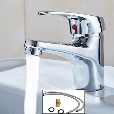 £11.99 • Buy Waterfall Bathroom Monobloc Basin Sink Mixer Tap Chrome Single Lever With 2Hoses