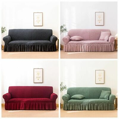 AU38.99 • Buy High Stretch Skirt Sofa Couch Cover Lounge Slipcover Protector 1 2 3 4 Seater