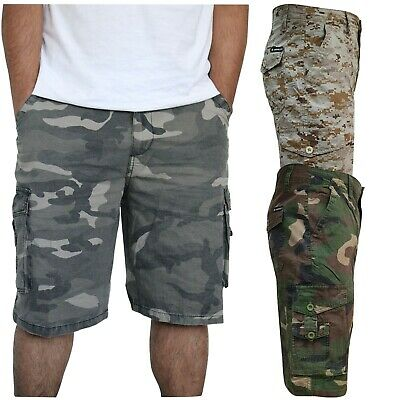 Mens Camouflage Army Casual Cargo Combat Work Cotton  Shorts Half Pant Camo • 10.95£