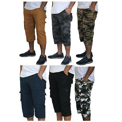 Mens 3/4 Long Length Belted Camo Army Solid 3 Quarter Waist Cargo Shorts Pants • 12.99£