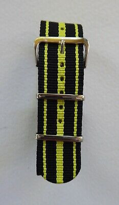 £5.99 • Buy Three Stripes Nato Military Style Watch Strap - Black / Yellow 18mm - 24mm