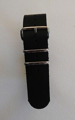 £7.99 • Buy Black Genuine Leather Nato Military Style Watch Strap - 18mm - 22mm