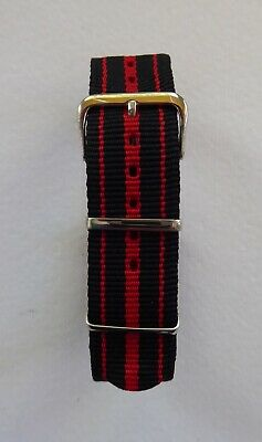 £5.99 • Buy Three Stripes Nato Military Style Watch Strap - Black / Red 18mm - 24mm