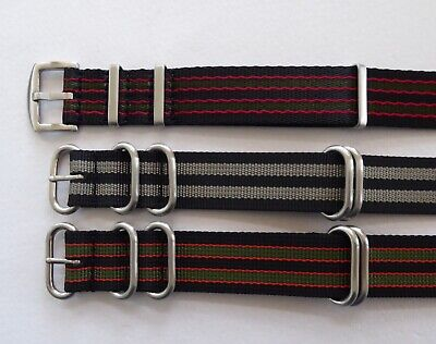 £9.99 • Buy Heavy Duty Striped Nato Military Style Watch Strap James Bond Colours 22 - 24mm