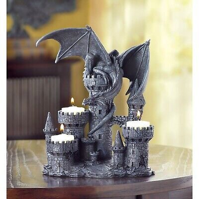£28.36 • Buy Medieval Style Dragon Castle Gothic Statue Tealight Candle Holder Candelabra