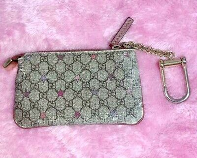 AU239.19 • Buy Authentic Gucci Micro Gg Star Zip Coin Purse Case Wallet Pouch Key Ring