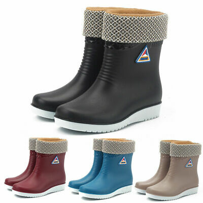 AU33.99 • Buy Women Short Wide Ankle Rain Boots Wellington Winter Waterproof Wellies Men Shoes