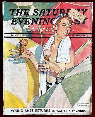 $ CDN37.48 • Buy Saturday Evening Post ~ July 13, 1940 ~ Norman Rockwell Ice Cream Melting