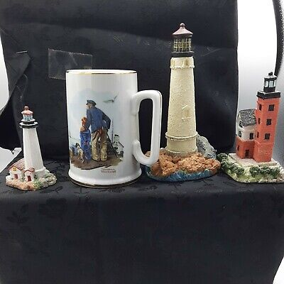 $ CDN15.06 • Buy  VINTAGE  LIGHT House Figurines & NORMAN ROCKWELL MUG AND POT HOLDERS LOT.