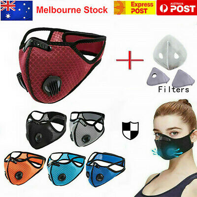 AU13.99 • Buy Face Mask Reusable Washable Anti Pollution PM2.5 Two Air Vent With Filter AU