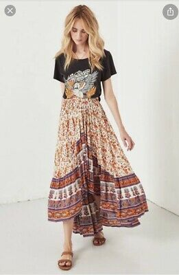 AU165 • Buy Spell Gypsy Love Orange Blossom Castaway Skirt Size Small Excellent Condition