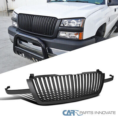 $108.95 • Buy For 03-05 Chevy Silverado Avalanche Vertical Matte Black Front Hood Grille Grill
