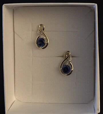 AU139 • Buy PROUDS YELLOW 9ct GOLD 5mm CREATED CEYLON SAPPHIRE AND DIAMOND EARRINGS - BOXED