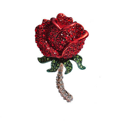 £3.86 • Buy Red Rose Brooch Pin Flower Rhinestone Brooches Wedding Party Dress Jewelry Gift