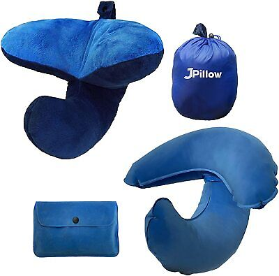 JPillow Padded Pillow Chin Support Blue 2 Tone + Inflatable Pillow Blue Travel • 19.99£
