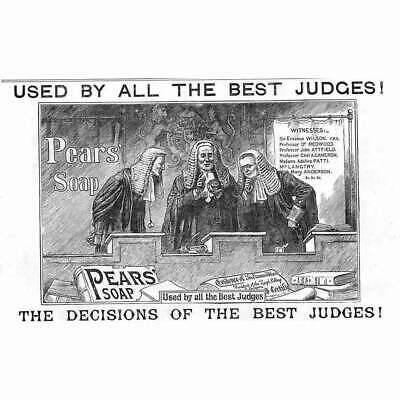 £9.95 • Buy PEARS SOAP Used By All The Best Judges - Victorian Advert 1886