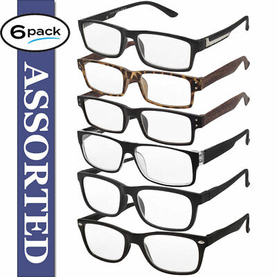 $12.95 • Buy Reading Glasses Mens 6 Pack Readers Assorted Styles Classic Daily Glasses New