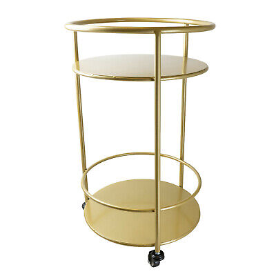 £59.95 • Buy Gold Metal Art Deco Drinks Trolley, Serving Drinks Bar Cart With 2 Shelves  NEW