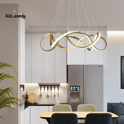 £129.99 • Buy Modern Gold Twist Ring LED Chandelier Dimmable Ceiling Pendant Light Fixture 21