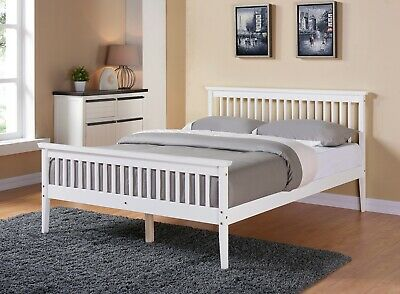 £119.99 • Buy Solid Wooden White Bed Frame Pine Shaker Style Bedroom Furniture King Size 5FT
