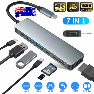 AU32.22 • Buy 7 In 1 Multiport USB-C Hub Type C To USB 3.0 4K Adapter For Macbook Pro/Air AU