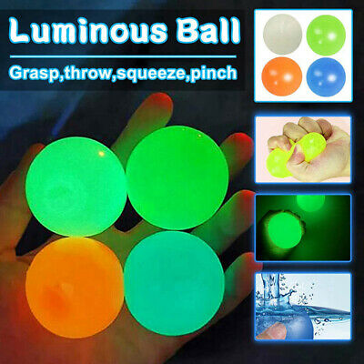 AU12.99 • Buy 4/8/12/16/20/24 Ceiling Wall Sticky Ball Glow In The Dark Stress Relief Fun Toys