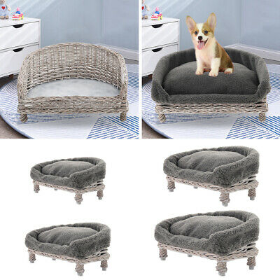 £35.95 • Buy Wicker Dog Pet Bed Basket Sofa Puppy Cat Willow Rattan Raised Bed Furniture Grey