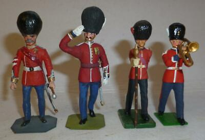 FOUR WHITE METAL SOLDIER MODELS OF BRITISH GUARDS, 54mm And 50mm • 4.99£