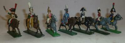 GROUP OF SEVEN WHITE METAL NAPOLEONIC CAVALRY SOLDIERS,  - 40mm HIGH • 4.99£