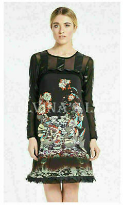 AU142.89 • Buy SAVE THE QUEEN DRESS ORIENTAL PRINT TULLE DETAIL LONG SLEEVES Sz XS EXTRA SMALL