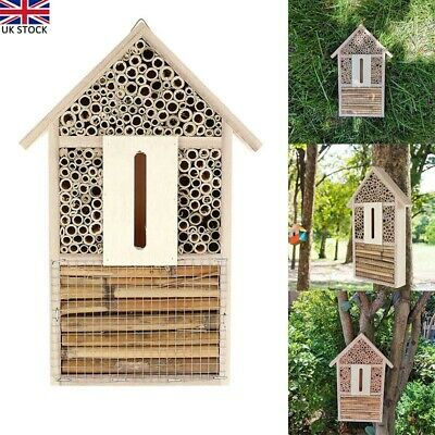 £10.85 • Buy Wooden Insect Bee House Natural Wood Bug Hotel Shelter Garden Nest Hang Box New