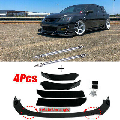 $89.12 • Buy Black Front Bumper Lip Splitter Spoiler + Strut Rods For Mazda Speed3 6 RX CX MX