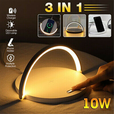AU28.99 • Buy LED Desk Lamp With Fast Wireless Charger USB Rechargeable Table Bedside Light AU