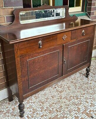AU100 • Buy Antique Sideboard Buffet Timber, Maybe 1940s? With Mirror