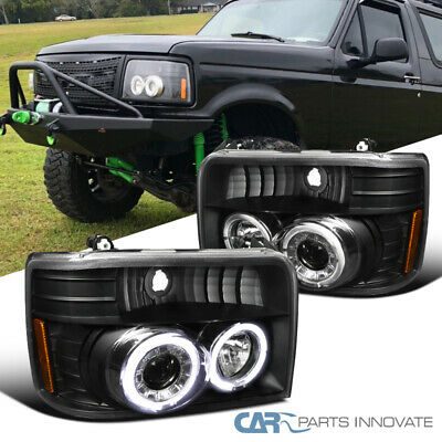 AU171.66 • Buy For Ford 92-96 F150 F250 F350 Bronco Black Halo Projector Headlights Head Lamps