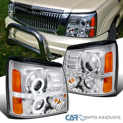 $167.95 • Buy Fit Cadillac 02-06 Escalade LED Strip Halo Clear Projector Headlights Head Lamps